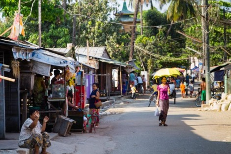 Street in Northokkalapa, suburb of Yangon