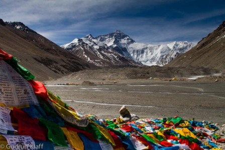 Prayer flags, base camp and Mount Everest