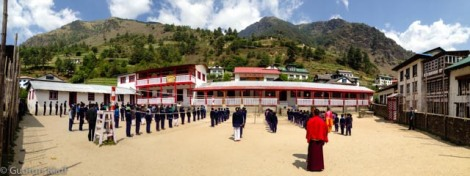 Seconndary School in Junbesi - morning roll call